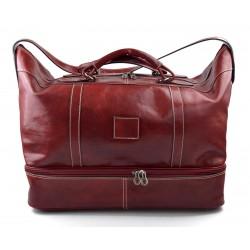 Sac de voyage en cuir homme femme bandoulière en cuir véritable sac sport rouge