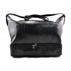 Leather duffle bag genuine leather shoulder bag black