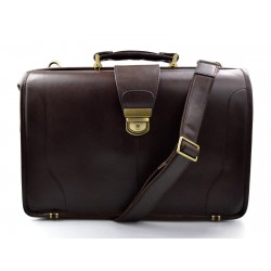 Doctor bag leather mens doctor bag XXL handbag ladies medical bag dark brown