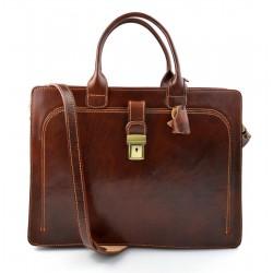 Leather briefcase mens womans office shoulderbag document messenger bag business bag executive VIP briefcase brown