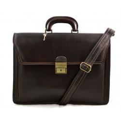 Leather briefcase office handbag mens woman shoulderbag dark brown
