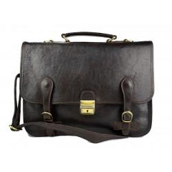 Leather briefcase mens ladies office handbag dark brown