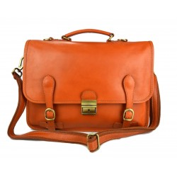 Leather briefcase mens ladies office handbag honey
