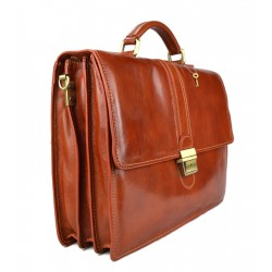 Leather briefcase mens ladies red office shoulderbag