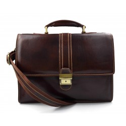 Leather briefcase office handbag mens woman shoulderbag dark brown