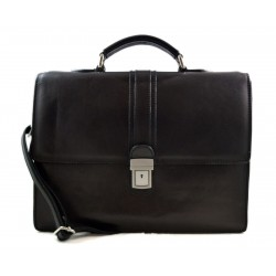 Leather briefcase mens ladies office handbag shoulderbag messenger business bag satchel black leather executive bag