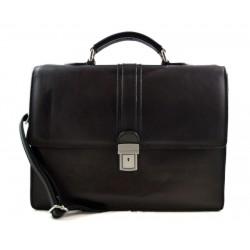 Leather briefcase mens ladies office handbag shoulderbag messenger business bag satchel black leather executive bag
