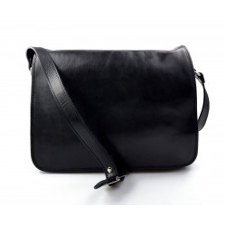 Mens leather bag shoulder bag genuine leather messenger black business document bag