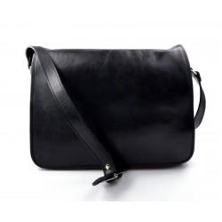 Sac messenger cuir homme cuir sac d'épaule bandoulière sac postier messenger noir