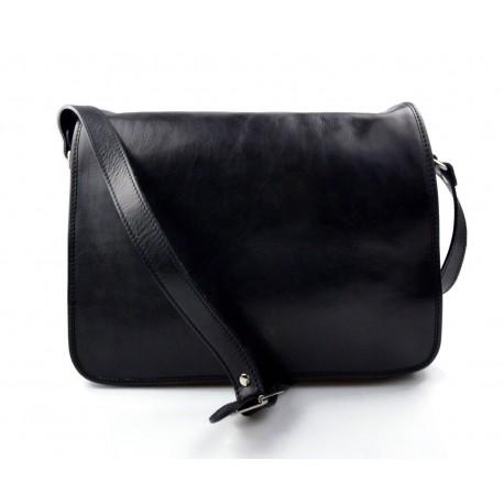 Mens leather bag shoulder bag genuine leather messenger black business document bag