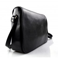 Mens leather bag shoulderbag genuine leather briefcase brown