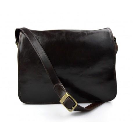 Mens leather bag shoulder bag genuine leather messenger dark brown business document bag
