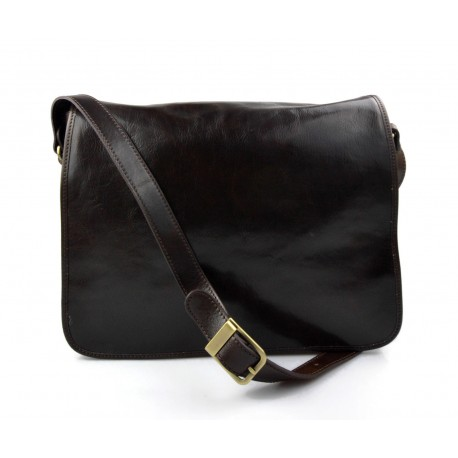 Sac messenger cuir homme cuir sac d'épaule bandoulière sac postier messenger brun foncè