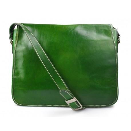 Mens leather bag shoulder bag genuine leather messenger green business document bag