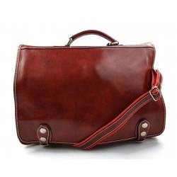 Leather messenger bag office bag mens business shoulder bag satchel xxl red