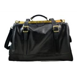 Leather doctor bag mens travel bag womens cabin luggage bag leather shoulder bag medical bag black