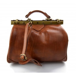 Ladies leather handbag doctor bag handheld shoulder bag light brown made in Italy genuine leather bag