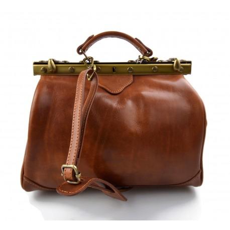 Ladies leather handbag doctor bag handheld shoulder bag light brown made in Italy genuine leather bag