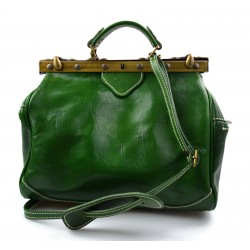 Ladies leather handbag doctor bag handheld shoulder bag green made in Italy genuine leather bag