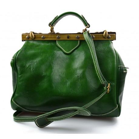 Ladies leather handbag doctor bag handheld shoulder bag green made in Italy genuine leather bag