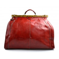 Leather doctor bag mens travel bag cabin luggage bag leather shoulder bag red