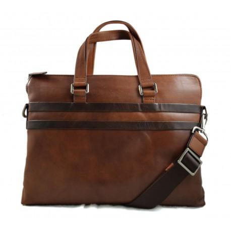 Cartella pelle portadocumenti messenger borsa uomo donna porta noteebook con tracolla e manici marrone