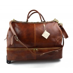Leather trolley travel bag doctor bag weekender with wheels overnight brown