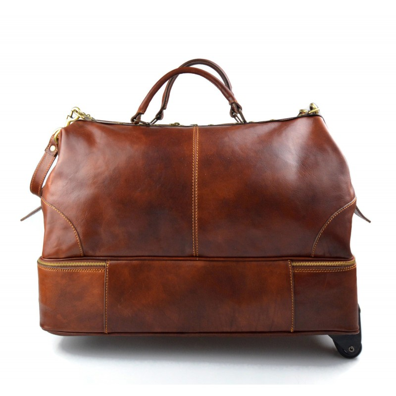 Leather trolley travel bag doctor bag brown weekender with wheels overnight leather baggage leather cabin luggage airplane carryon airplane