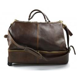 Borsone pelle viaggio doctor bag borsa cabina con ruote testa moro