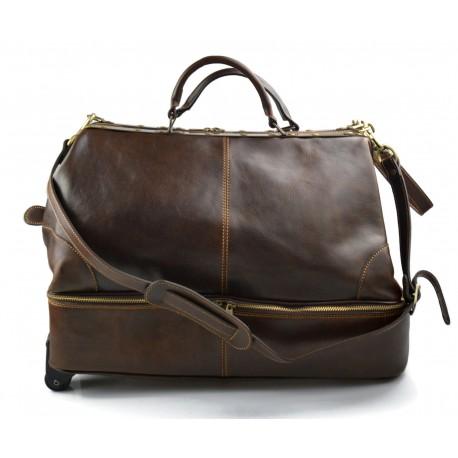 Leather trolley travel bag doctor bag weekender with wheels overnight dark brown