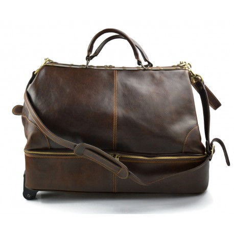 Leder doktor tasche leder troller reisetasche dunkelbraun herren damen leder weekend tasche
