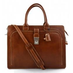 Leather briefcase mens women office shoulder bag document messenger bag business bag executive VIP briefcase honey