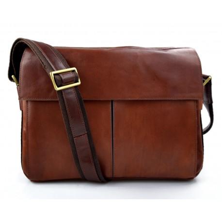 Leather satchel mens messenger ladies handbag ipad tablet leather bag brown
