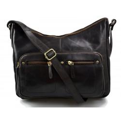 Ladies buffalo leather dark brown handbag women