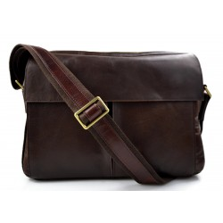 Leather satchel mens messenger ladies handbag ipad tablet leather bag dark brown