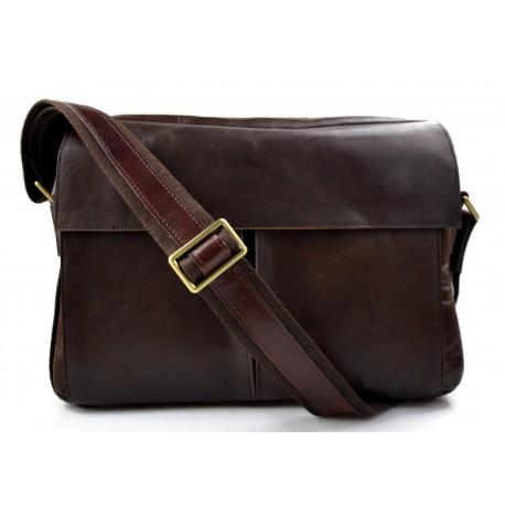Leather satchel mens messenger ladies handbag ipad tablet leather bag dark brown