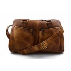 Bolsa de viaje de piel vintage bolsa piel lavada marron