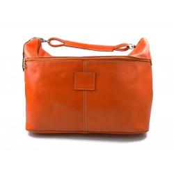 Brown leather shoulder bag leather retro satchel mens women vintage messenger