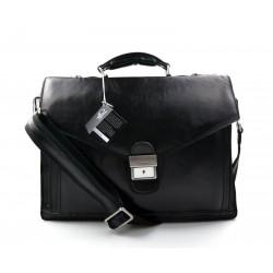Leather briefcase mens ladies black office leather shoulder bag