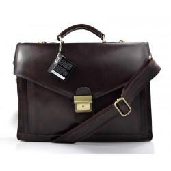 Leather briefcase mens ladies dark brown office shoulder bag