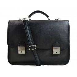 Mens leather bag shoulder bag genuine leather briefcase black