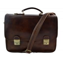 Mens leather bag shoulder bag genuine leather briefcase brown