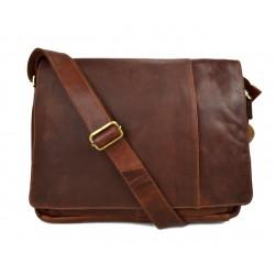Genuine italian leather shoulderbag notebook messenger bag ipad laptop ladies men brown