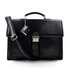 Leather briefcase business bag conference bag satchel black