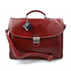 Leather briefcase office bag men ladies bag business red