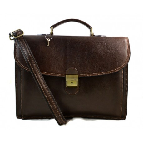 Leather briefcase office bag men ladies bag business dark brown