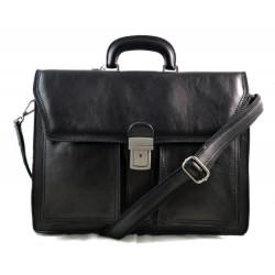 Bolso de hombre de cuero bolso de mujer de cuero carpeta de piel negro