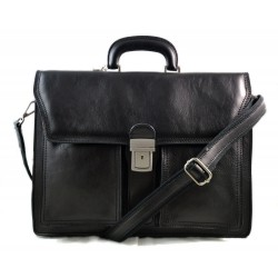 Leather briefcase business bag conference bag satchel black