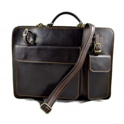 Leather messenger bag briefcase shoulder bag carry on dark brown