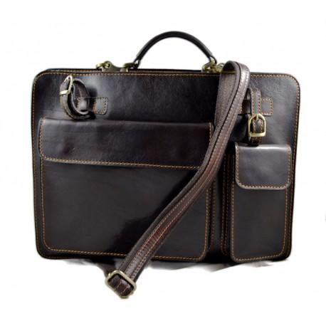 Leather messenger bag briefcase shoulder bag carry on dark brown